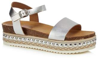 Faith Silver Leather 'Joss' Mid Platform Ankle Strap Sandals