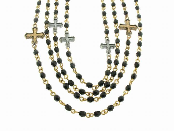 Virgins, Saints & Angels PAX Magdalena Multi Strand Black Diamond Necklace in Gold with Crosses