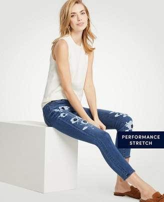 Ann Taylor Modern Painted Floral All Day Skinny Crop Jeans