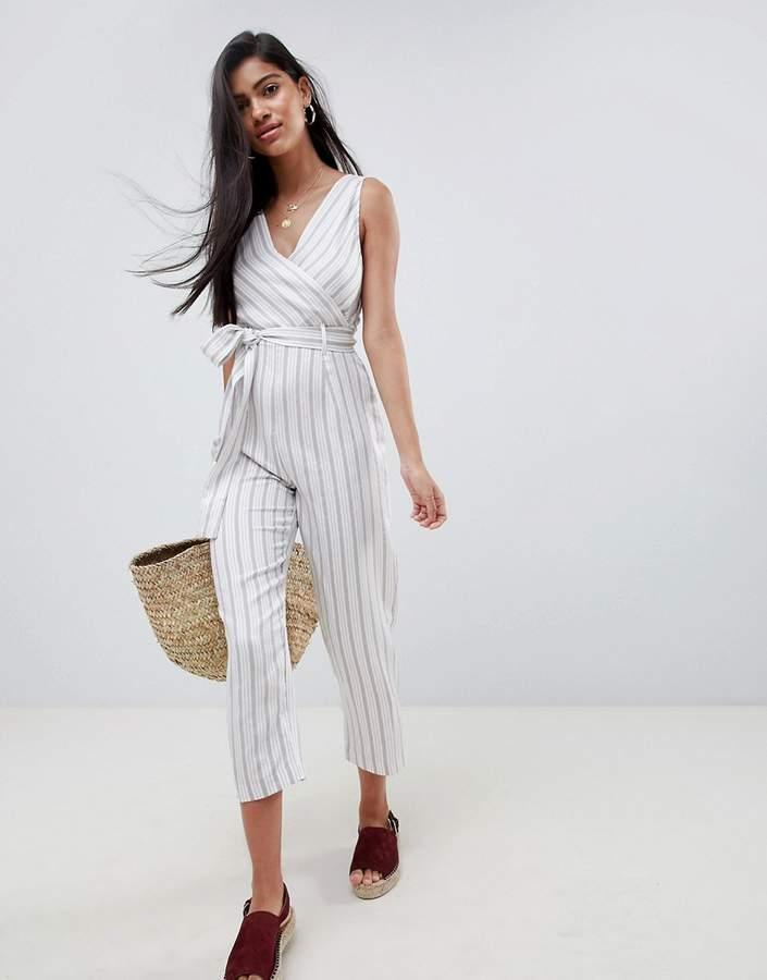 ASOS DESIGN cami jumpsuit with tie waist in linen stripe