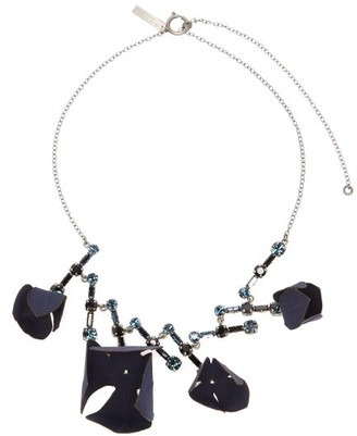 Marni Flora Fabric And Strass Crystal Necklace - Womens - Blue