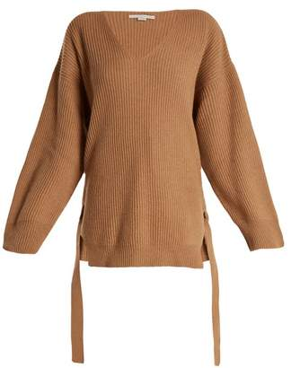 Stella McCartney Curved V Neck Ribbed Knit Cashmere Blend Sweater - Womens - Camel