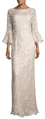 Rickie Freeman for Teri Jon Bell-Sleeve Floral Lace Column Gown, Champagne $940 thestylecure.com