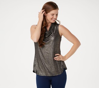 11ab2ad162afbd Lisa Rinna Collection Foil Print Sleeveless Cowl-Neck Top