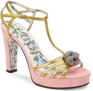Gucci Crystal Tiger T-Strap Sandal