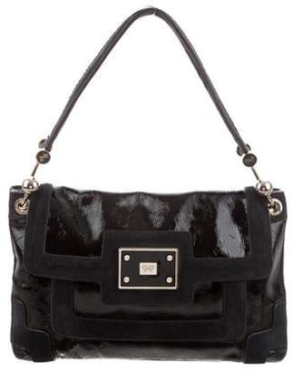 Anya Hindmarch Suede-Trimmed Shoulder Bag Black Suede-Trimmed Shoulder Bag