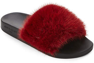 Givenchy Dark Red Real Fur Slide Sandals