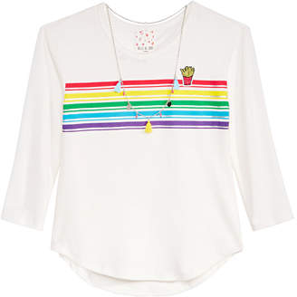 Belle Du Jour Big Girls Rainbow Striped Top & Necklace