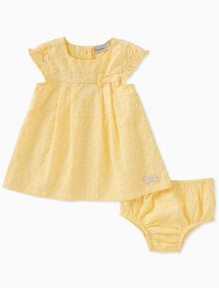 Calvin Klein baby girls yellow dot dress + bloomers