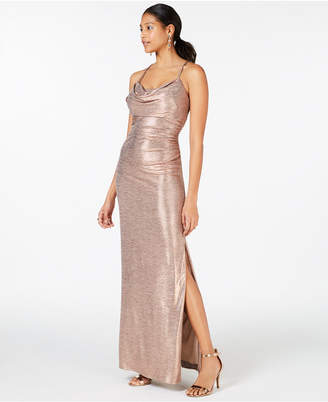 93f0b1861454 Night Way Nightway Cowl-Neck Gold-Foil Gown