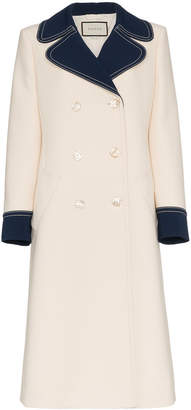 Gucci double breasted bi colour wool coat