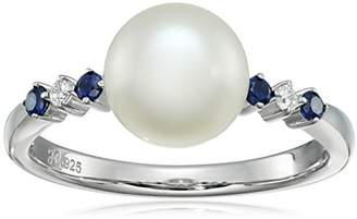 Sterling Silver 8-9mm Button Freshwater Cultured Pearl with Cubic Zirconia Band Ring