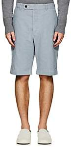 Officine Generale MEN'S STRIPED COTTON CANVAS CUFFED SHORTS-WHITE SIZE 48 EU