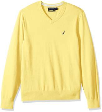 Nautica Men's Long Sleeve Solid Classic V-Neck Sweater