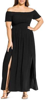 City Chic Plus Summer Passion Off-the-Shoulder Maxi Dress