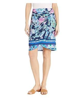 Tribal Printed Jersey Wrap Skirt w/ Pleats