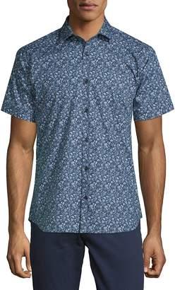 Jared Lang Men's Floral Cotton Button-Down Shirt
