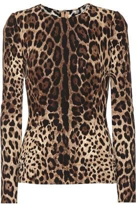 Dolce & Gabbana Leopard print stretch crepe top