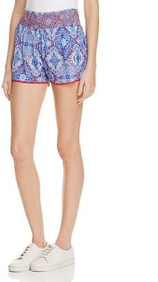 En Créme Tile Print Smock Waist Shorts - 100% Exclusive $48 thestylecure.com