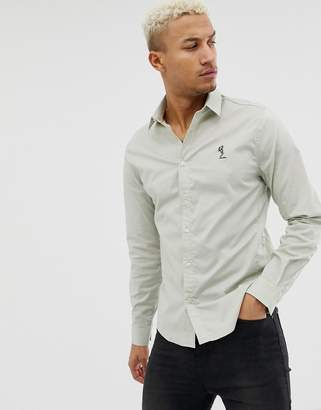 Religion Skinny Smart Shirt In Light Green