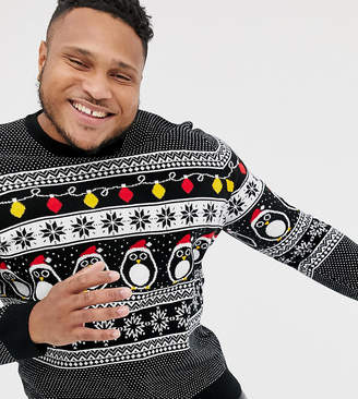 New Look Plus Holidays sweater with penguins in black