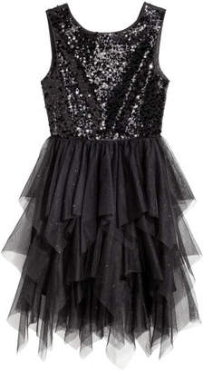 H&M Sequin-embroidered tulle dress - Black