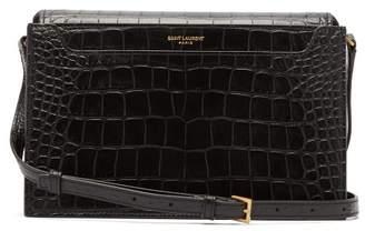 Saint Laurent Catherine Crocodile Effect Leather Bag - Womens - Black