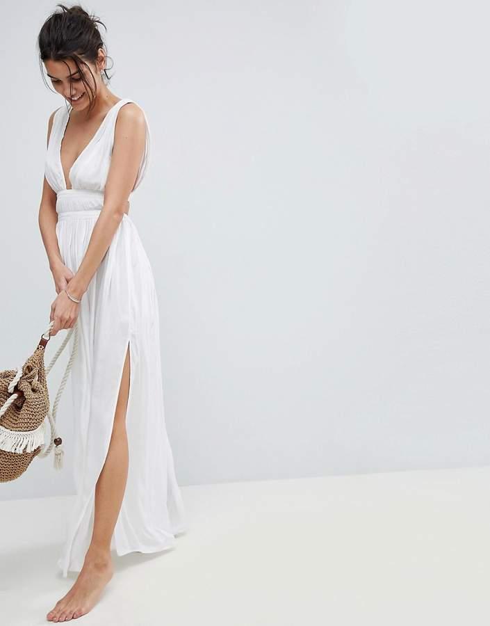 – Maxi-Strandkleid im griechischen Stil aus Webstoff mit tiefem Ausschnitt
