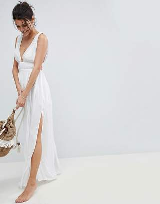 Asos DESIGN Grecian Plunge Maxi Woven Beach Dress