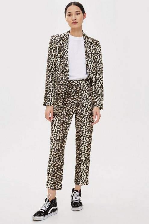 Petite Brown Leopard Print Suit Trousers