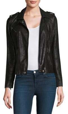 Rebecca Taylor Crackle Leather Moto Jacket