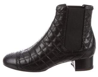 Chanel CC Quilted Ankle Boots