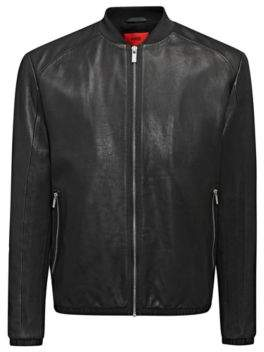 HUGO Boss Regular-fit bomber jacket in calfskin M Black