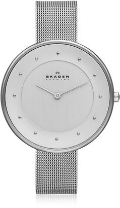 Skagen Gitte Stainless Steel Round Case w/Mesh Strap Women's Watch $149 thestylecure.com