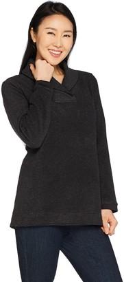 Denim & Co. Chenille Fleece Long Sleeve Shawl Collar Top