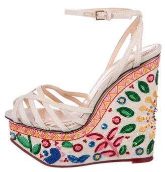Charlotte Olympia Embellished Ankle Strap Wedges