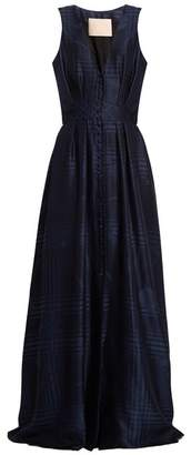 Brock Collection - Dylan Button Front Silk Blend Gown - Womens - Navy