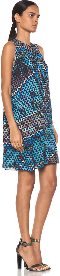 Proenza Schouler Sleeveless Printed Button Dress in Pool Collage