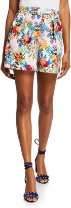 Nicole Miller High-Waist Floral Printed Shorts