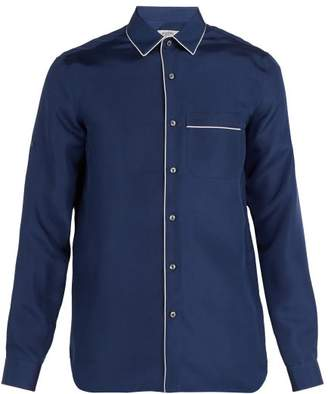 Valentino Pyjama Style Silk Satin Shirt - Mens - Blue