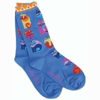 K. Bell Laurel Burch Socks-Feline Festival - Blue