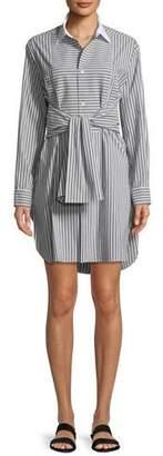 Robert Rodriguez Plastron Stripe Button-Front Cotton Poplin Shirtdress
