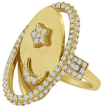 Eden Presley 14k Gold Moon & Back Flip Ring