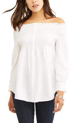 ALISON ANDREWS Alison Andrews Women's Off the Shoulder Button Front Babydoll Shirt