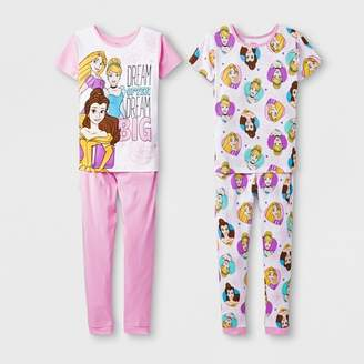 Princess Girls Disney Princess Girls' Disney Princess 4pc Pajama Set - Pink