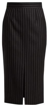 Alexander McQueen Pinstripe Wool Blend Twill Pencil Skirt - Womens - Black Stripe