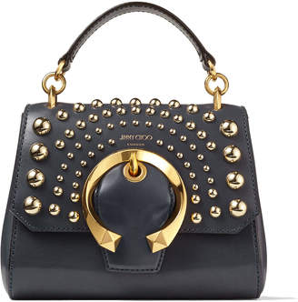 Jimmy Choo MADELINE TOP HANDLE/S Dusk Calf Leather Madeline Top Handle Bag with Metal Buckle and Degrade Round Studs