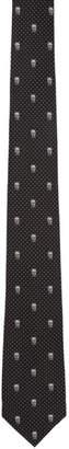 Alexander McQueen Black and White Polka Dot Skull Tie
