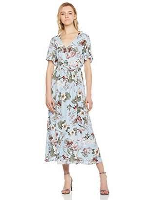 MEHEPBURN Women's Floral Maxi Faux Wrap Flowy Front Slit Party Dresses with Belt Floral23 M