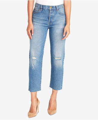Vintage America Cheeky Ripped-Knee Cropped Jeans